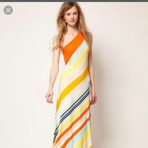Ted Baker multi color one shoulder maxi dress
